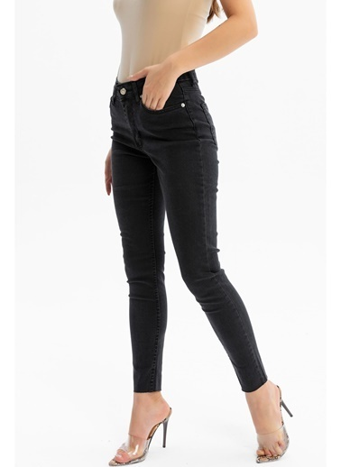 Tiffany&Tomato Paçası Kesik Yüksek Bel Skinny Jean Pantolon - Siyah Antrasit
